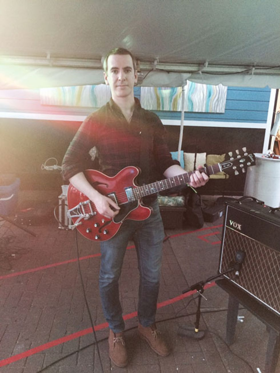 """93778c2bb6ad1 """"For this tour I ve been using a 2007 Gibson ES-335. I m a pretty  straightforward gear guy"""