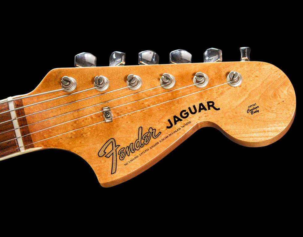 Vintage vault 1966 fender jaguar premier guitar the headstock sports a gold transition era fender logo decal and kluson tuners a year later fender designed f stamped keys made by schaller in germany sciox Images