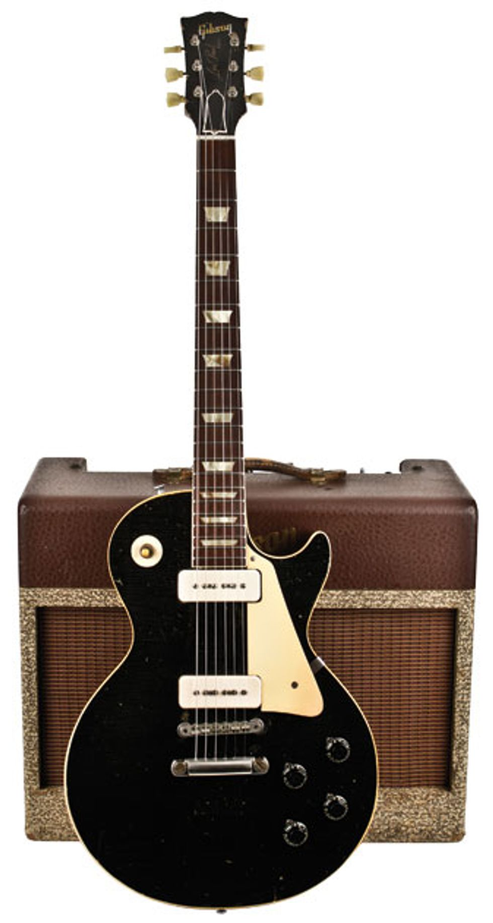 Though This 1956 Les Paul Sports The Black Lacquer Finish Of Gibsons Custom Serial Number 65398 Is Actually A Goldtop In Disguise