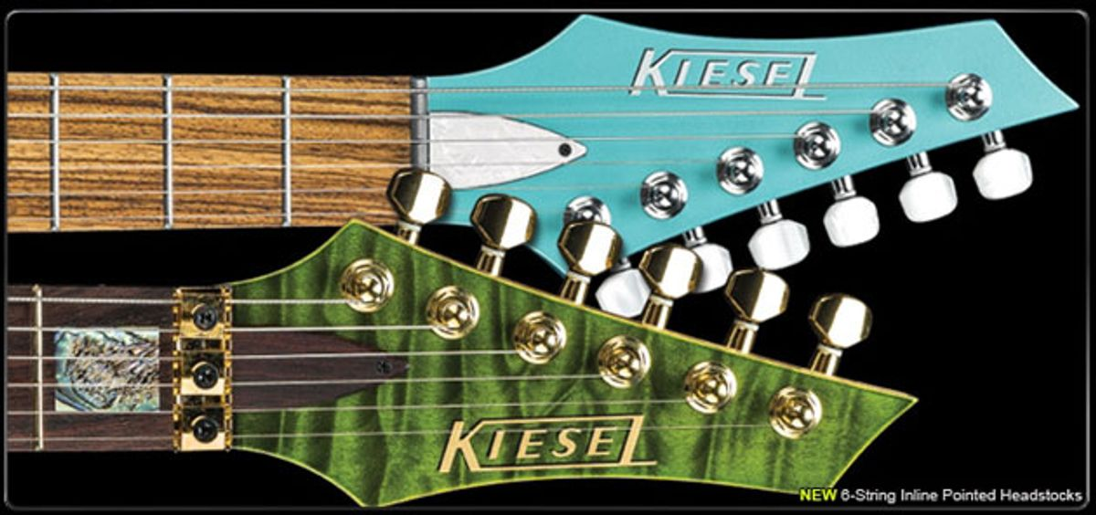 Kiesel and Carvin Guitars Custom Shop Introduces New Inline Headstock Shapes