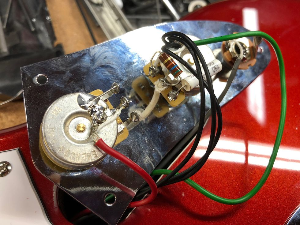 Diy No Brainer Mods Premier Guitar Way Fender Switch Wiring Help Telecaster Forum Photo 9 The Jags Lead Circuit Control Panel After Widening Pot Holes And Installing Us Made 1m Potentiometers A Mallory 01 F Capacitor On