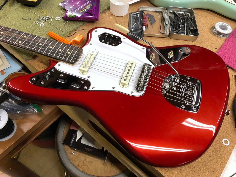 Diy No Brainer Mods Premier Guitar Squier Vm Surf Strat Wiring Diagram Photo 10 With The New Uk Made Staytrem Bridge And Fender American Vintage Vibrato Installed Is Starting To Look More Like An Offset