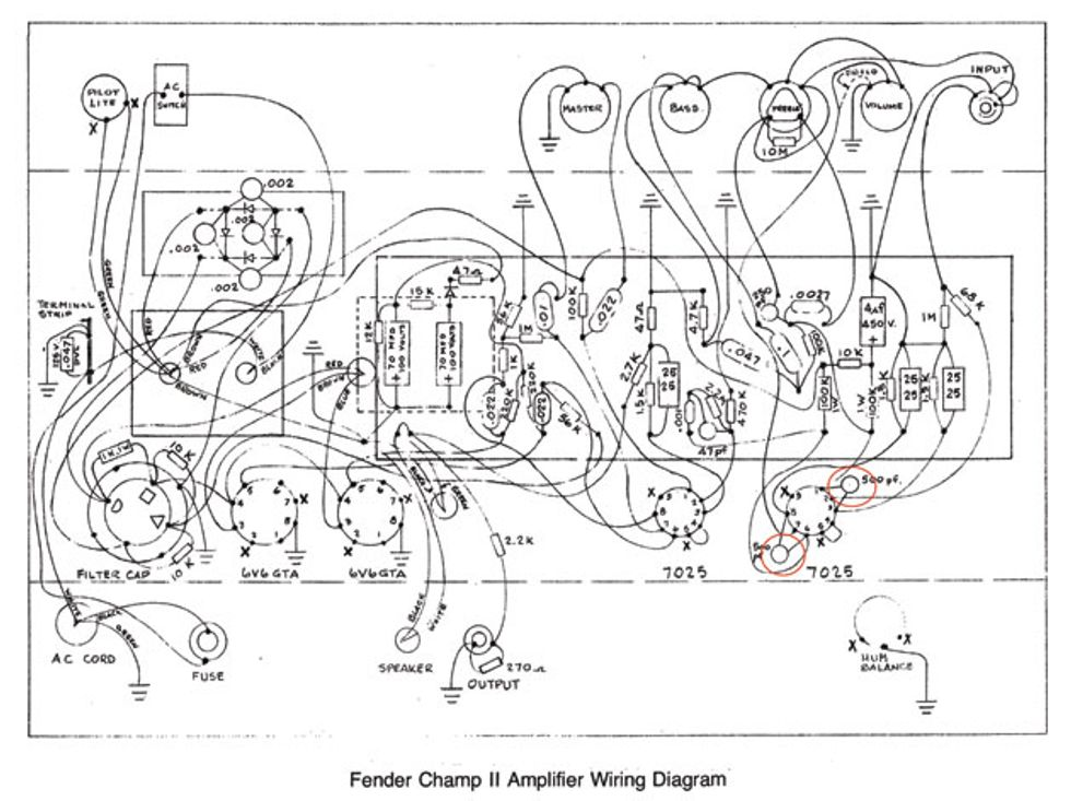 ask amp man tweaking a fender champ ii premier guitar fender champ amp wiring diagram fender champ wiring diagram #14