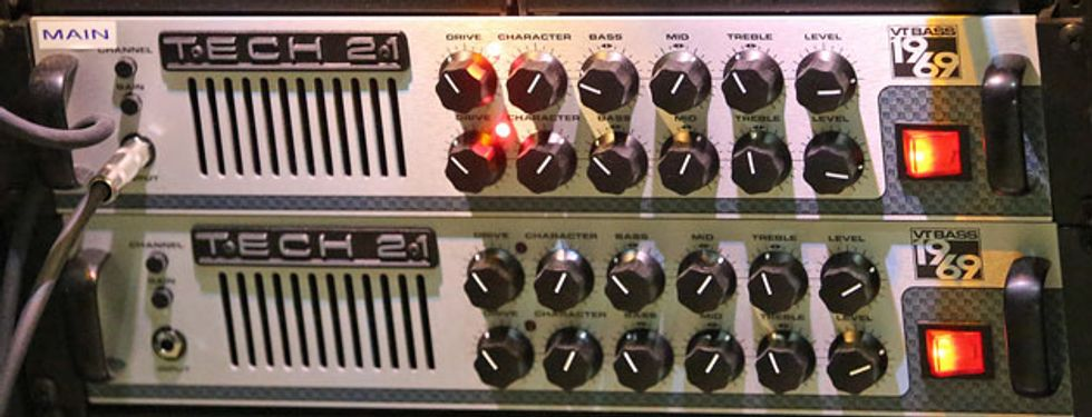 simmons amp. from there it goes out to an empress compressor and one of two tech 21 vt-bass 1969 amps. simmons amp