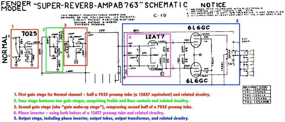 All the World's a Gain Stage | Premier Guitar Fender Super Reverb Schematic on fender frontman 25r schematic, fender super 210 schematic, fender pro reverb, fender pro schematic, fender twin reverb, fender vaporizer schematic, fender vibro champ schematic, fender vibrolux schematic, fender super champ schematic, fender champ schematic explained, fender deluxe schematic, fender bantam bass schematic, bassman schematic, rickenbacker 4003 schematic, fender tremolux schematic, fender harvard schematic, fender princeton schematic, fender 5f1 schematic, fender super 60 schematic,