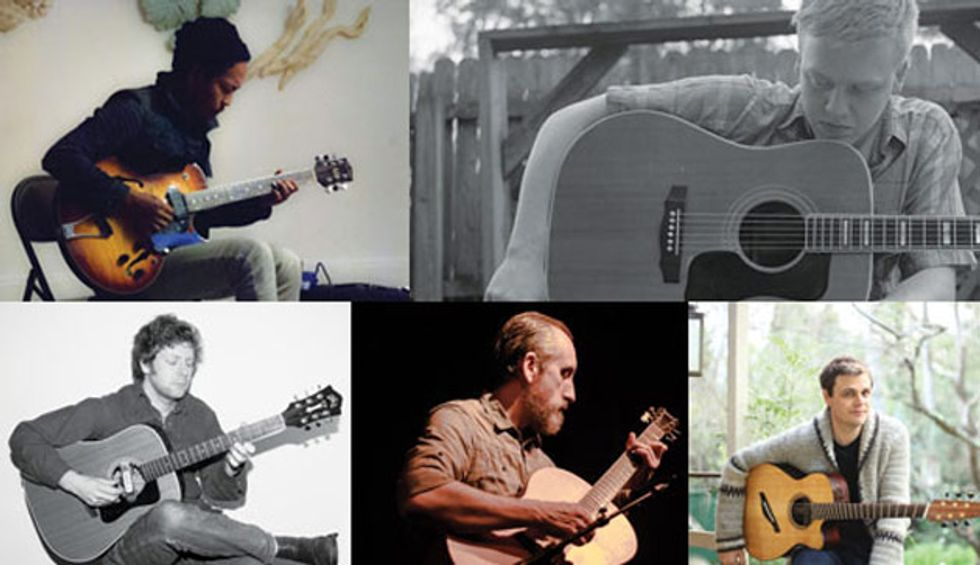 On the rise 5 must hear emerging acoustic guitarists premier guitar clockwise from top left tashi dorji daniel bachman cian nugent chuck johnson and adam miller click on the player you want to read about first solutioingenieria Images