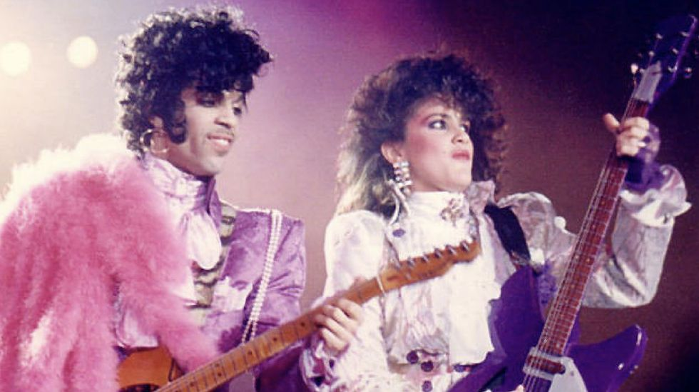 Prince Plays His Hohner Tele And Wendy Melvoin Rocks Her Signature Purple Rickenbacker During The Rain Tour In Mid 80s Names Mother