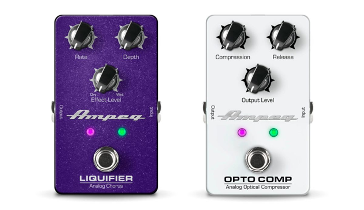 Ampeg Expands Pedal Lineup with the Liquifier Analog Chorus and Opto Comp Analog Optical Compressor
