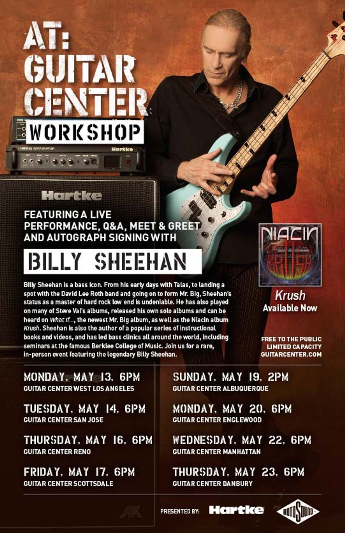 Rotosound Presents Billy Sheehan Clinic Tour