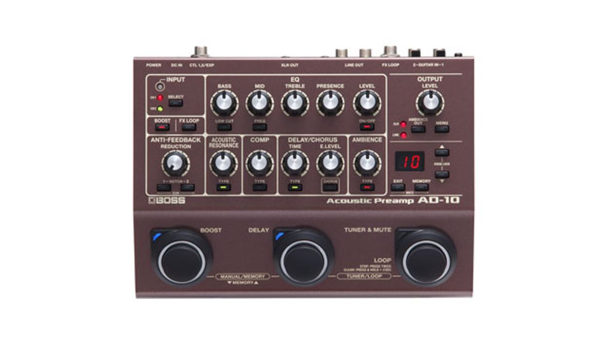 Boss Announces the AD-10 Acoustic Preamp