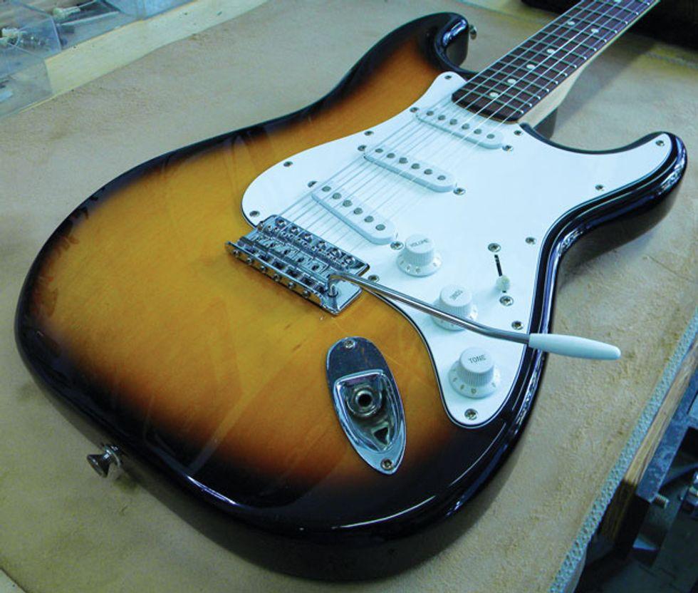"Guitar Shop 101: ""Decking"" a Stratocaster Trem | Premier Guitar"