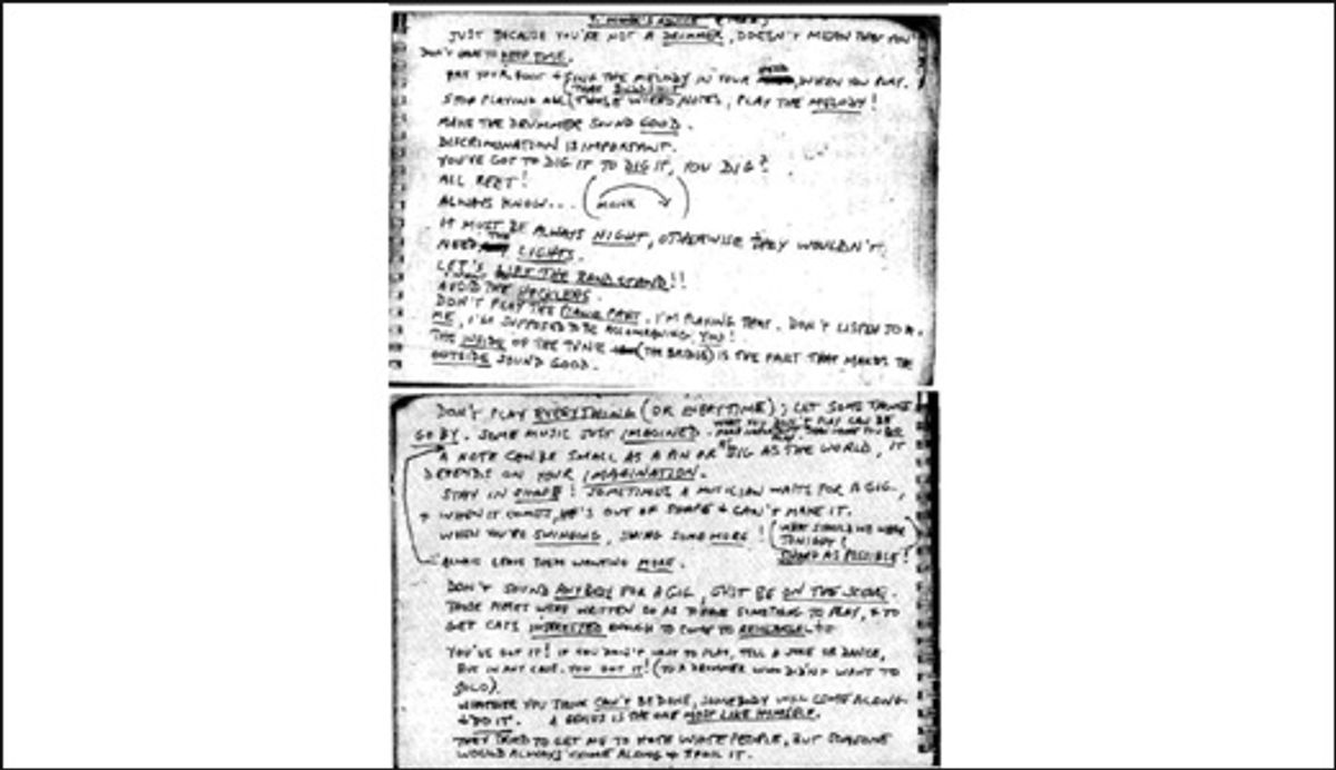 A snapshot of saxophonist Steve Lacy's notebook from 1960, where he jotted down advice given by his boss at the time, jazz pianist Thelonious Monk.
