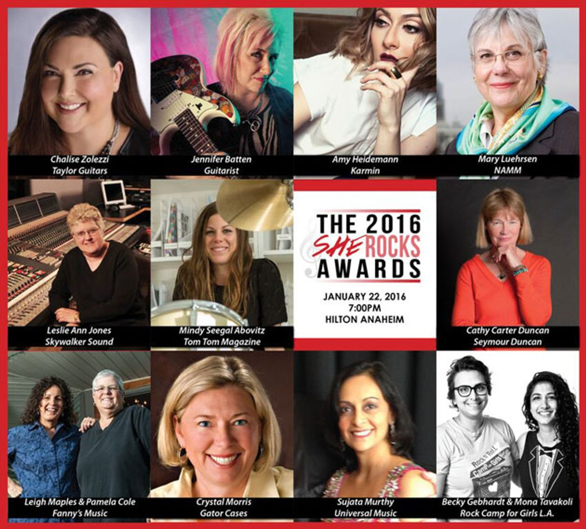 The Women's International Music Network Announces the 2016 She Rocks Award Recipients