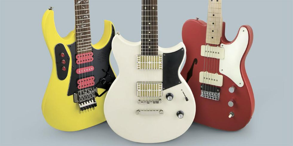 Squier, Ibanez, and Yamaha axes