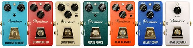 Providence Effects Sonic Drive, Heat Blaster, Stampede Overdrive, Velvet Comp, Final Boost, Phase Force, and Anadime Chorus Pedal Reviews