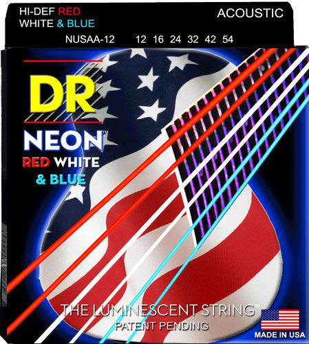 DR Strings Introduces USA Flag NEON Strings